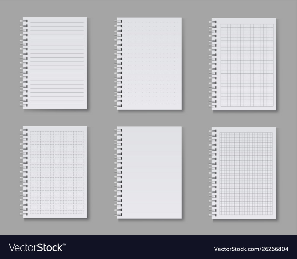Notebook set blank ruled pages for writing notes