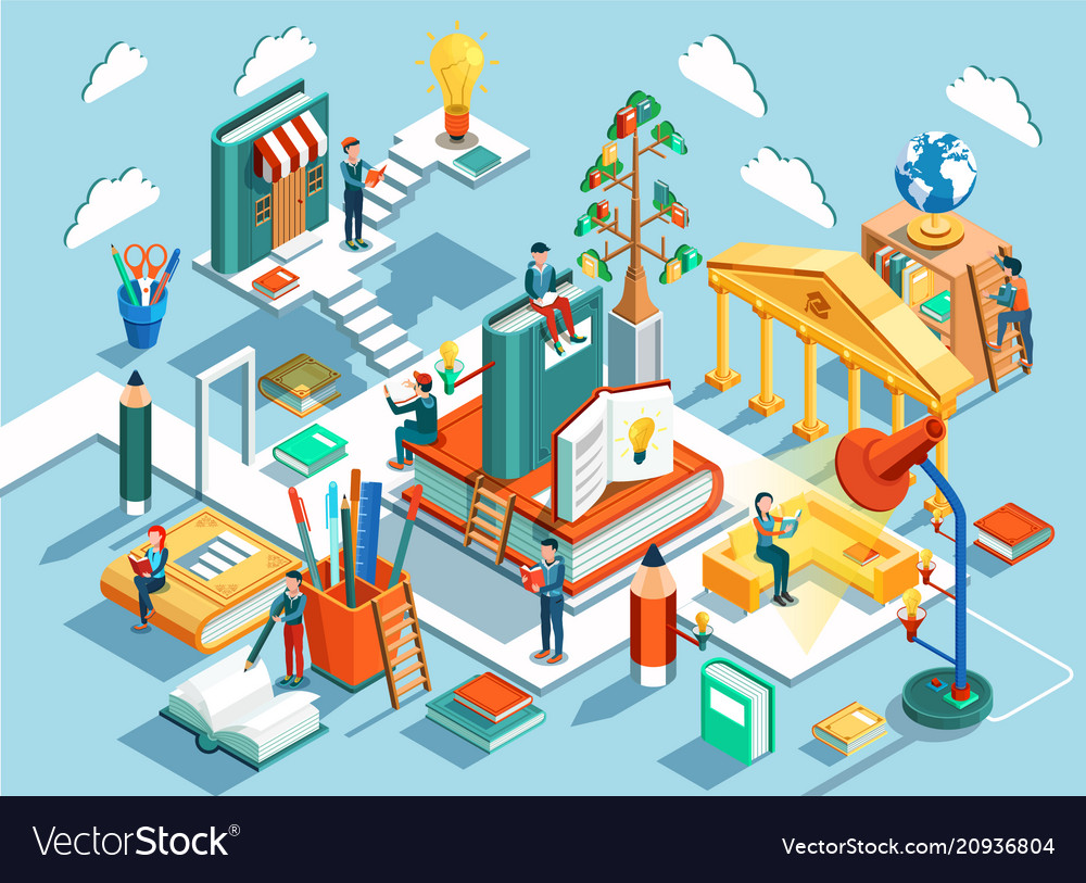 Online education isometric flat design vector