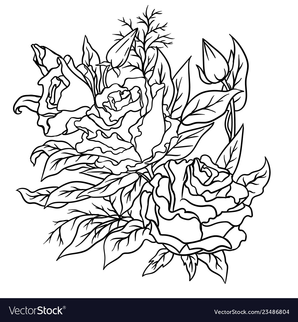 Page for coloring book outline flowers doodles