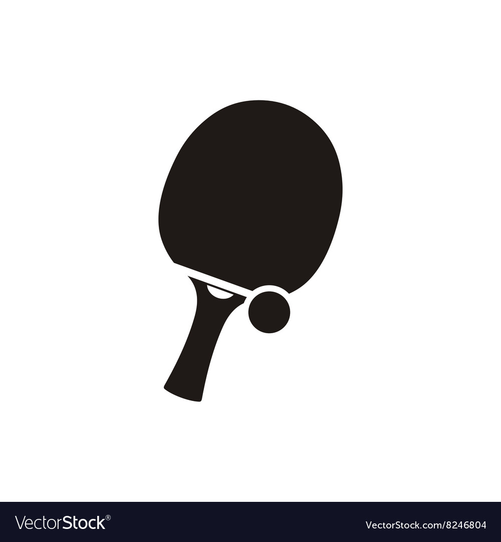 Ping Pong Tennis and Ball Monochrome Icon