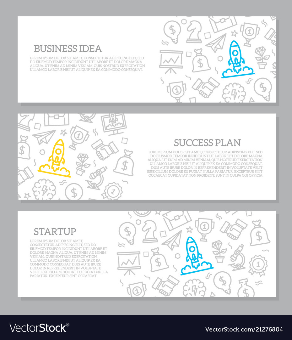 Set of startup and business horizontal
