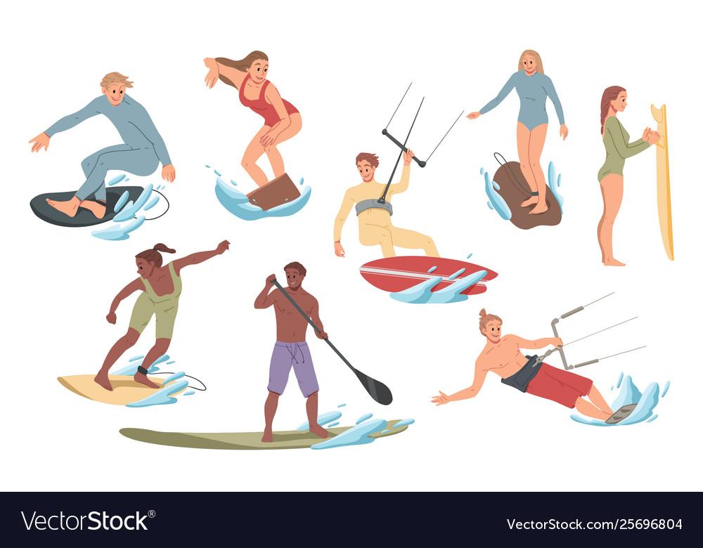 Set people performing activities on water