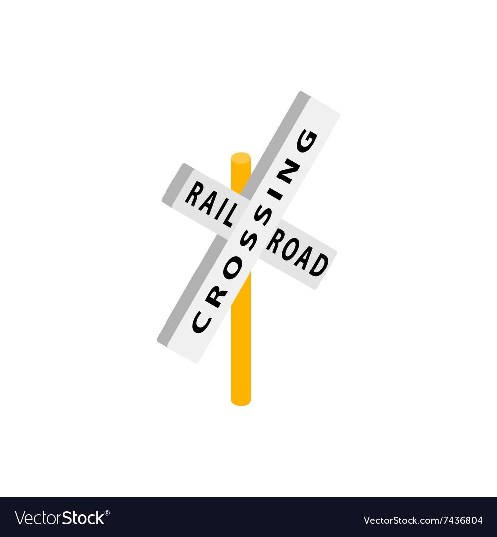 Train crossing road isometric icon
