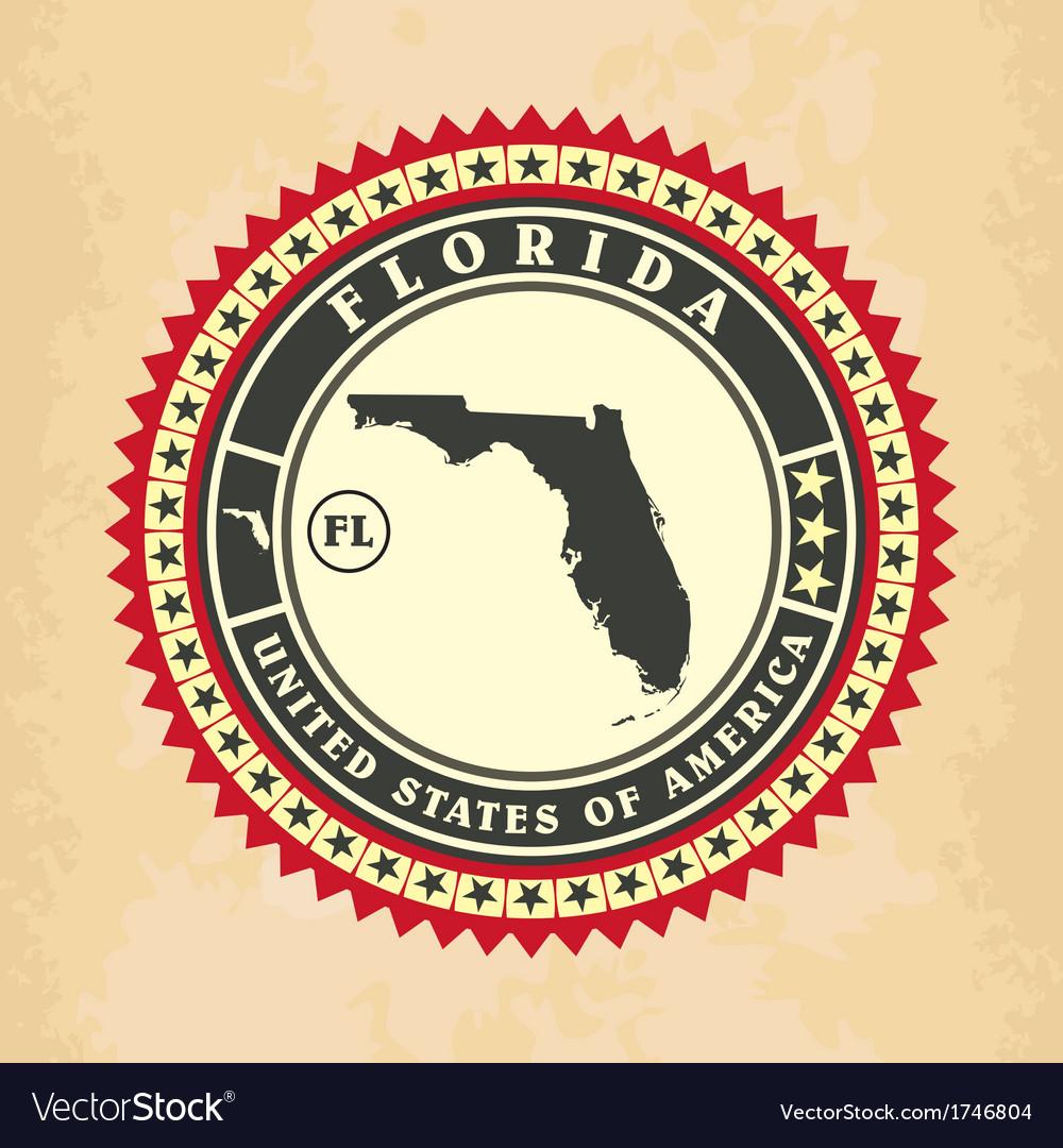 Vintage label-sticker cards of Florida