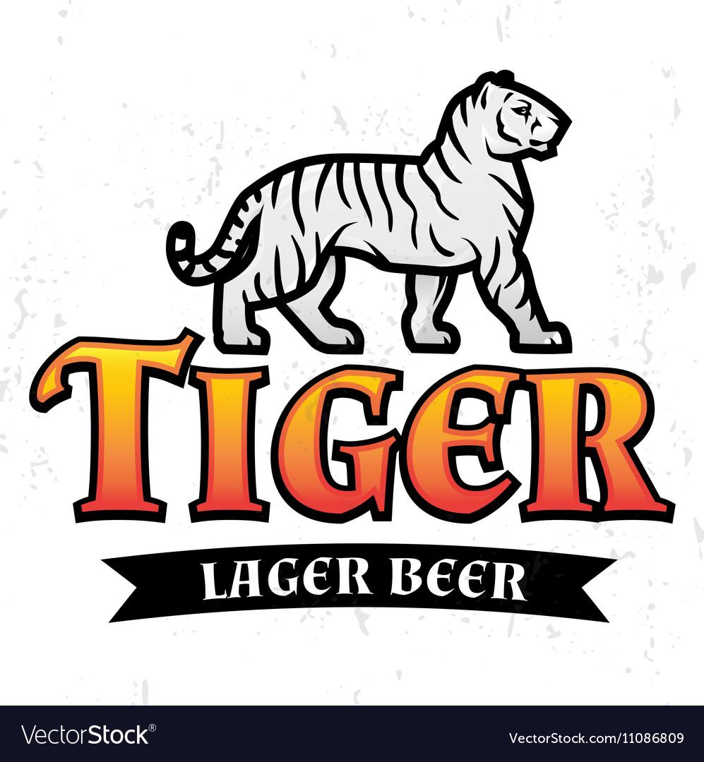 Bengal Tiger Beer logo Lager Label design vector image