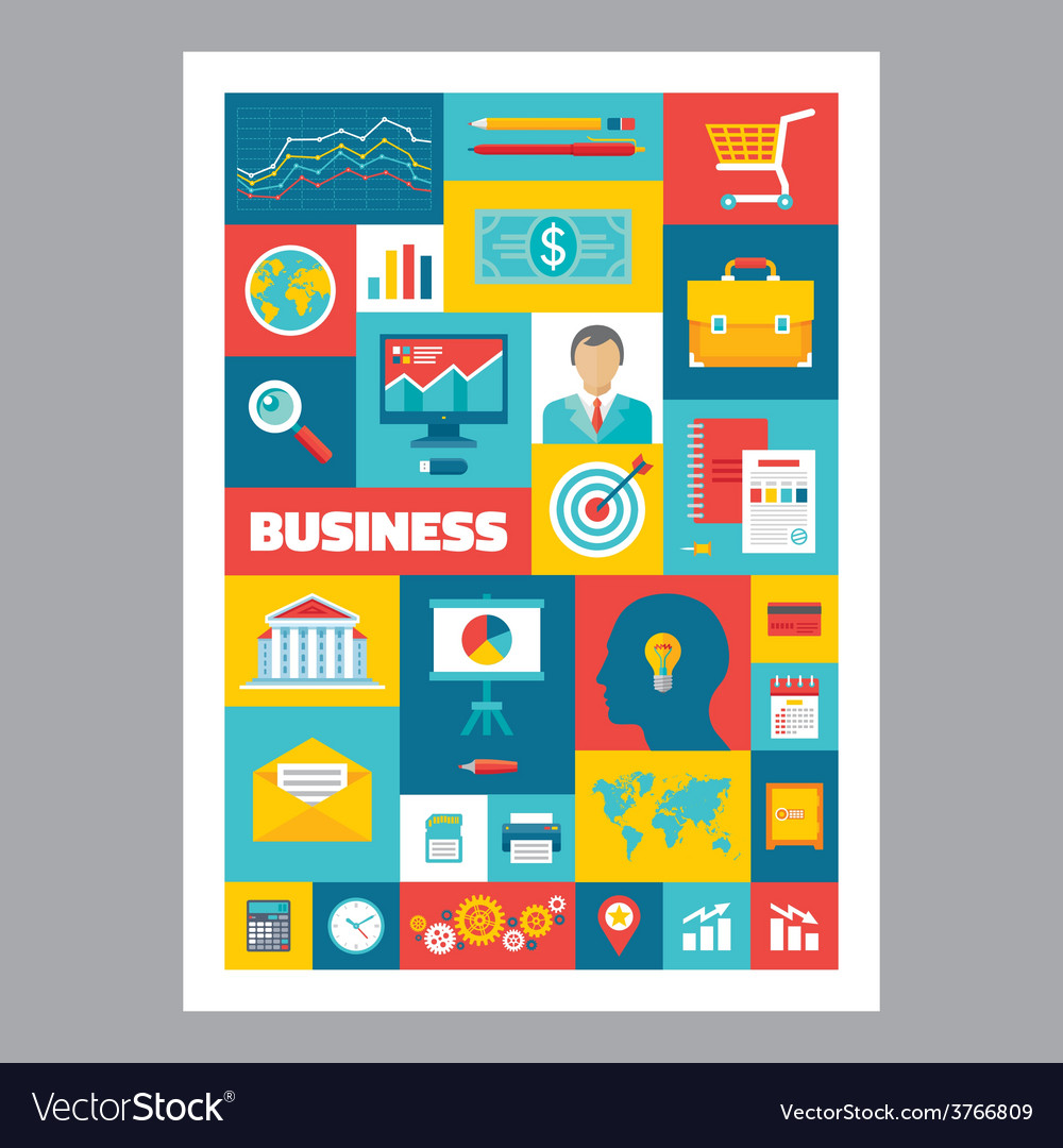 Business - mosaic poster with icons in flat design