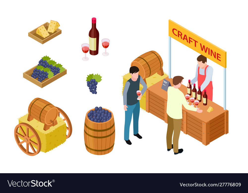 Craft wine tasting winemaking isometric concept