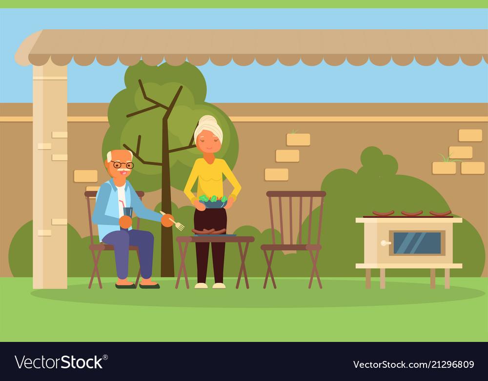 Elderly family couple on bbq