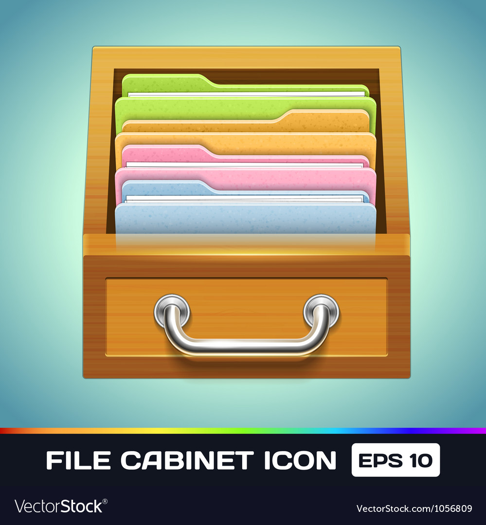 File Cabinet with Folders Icon vector image  sc 1 st  VectorStock & File Cabinet with Folders Icon Royalty Free Vector Image