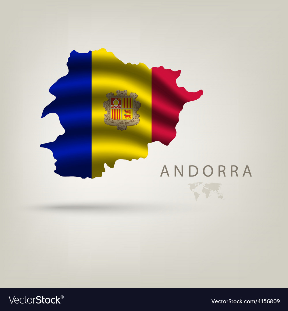 Flag of andorra as a country with shadow