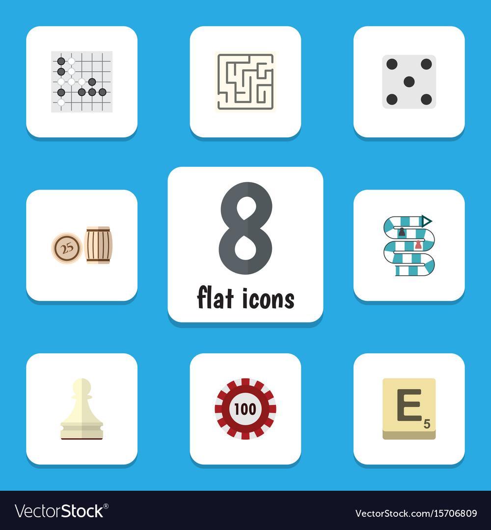 Flat icon games set of mahjong poker labyrinth
