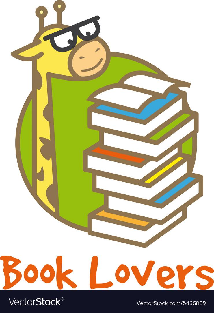 Funny giraffe logotype Book store logo