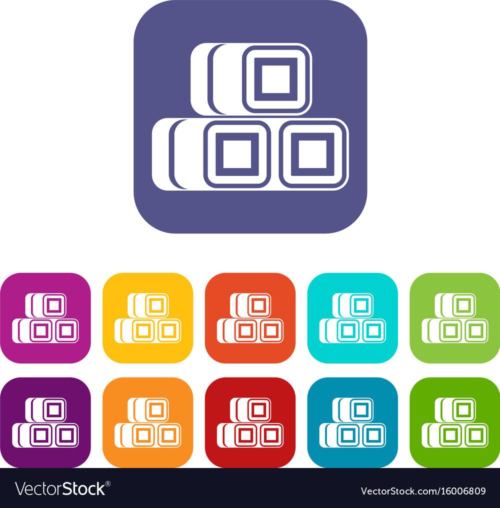 Hay bundles icons set vector image