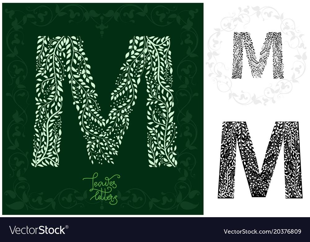 Leaves alphabet letter m