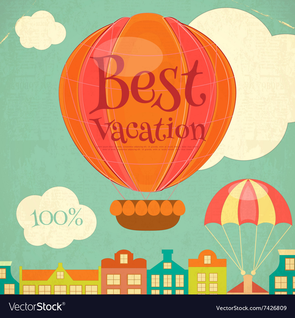 Travel Poster with Hot Air Balloon
