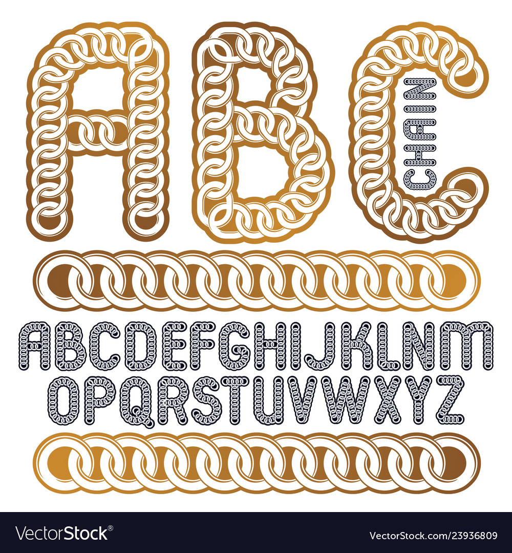 Type font script from a to z capital decorative