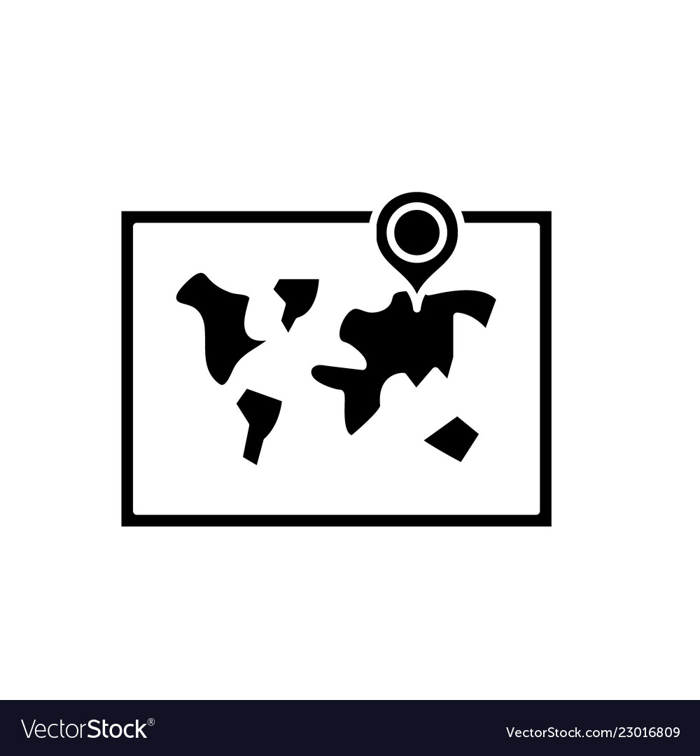 World map black icon sign on isolated