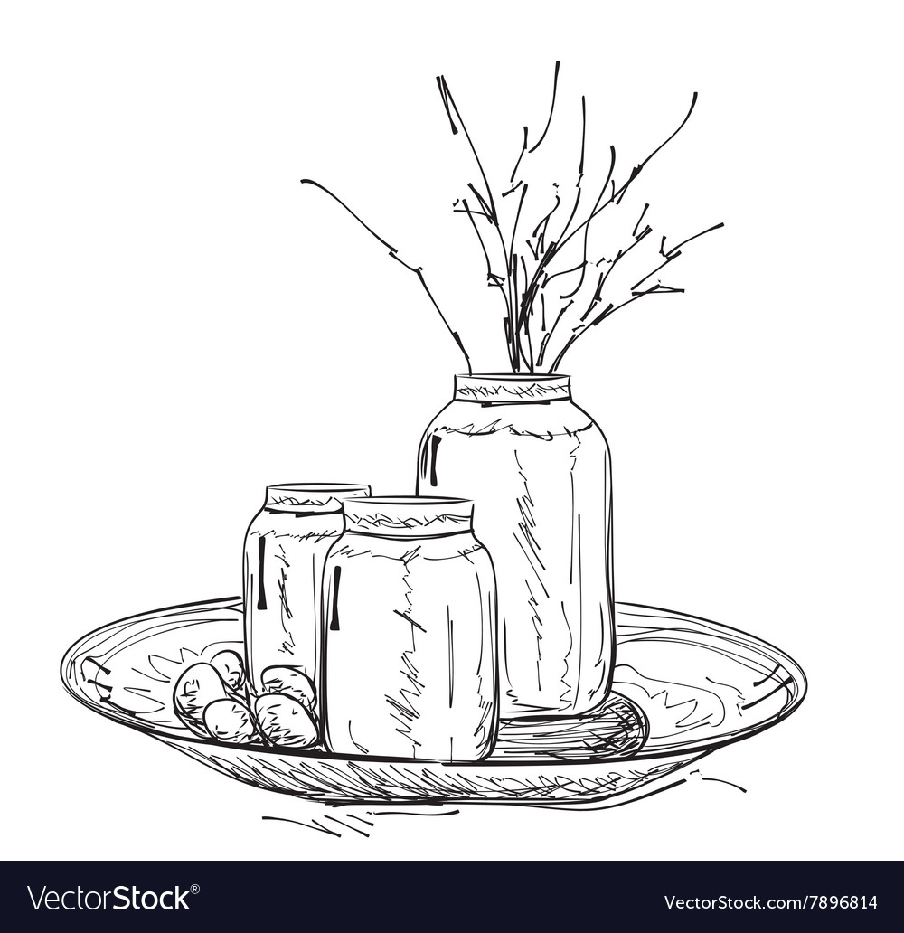 Cartoon vase with branches Spring