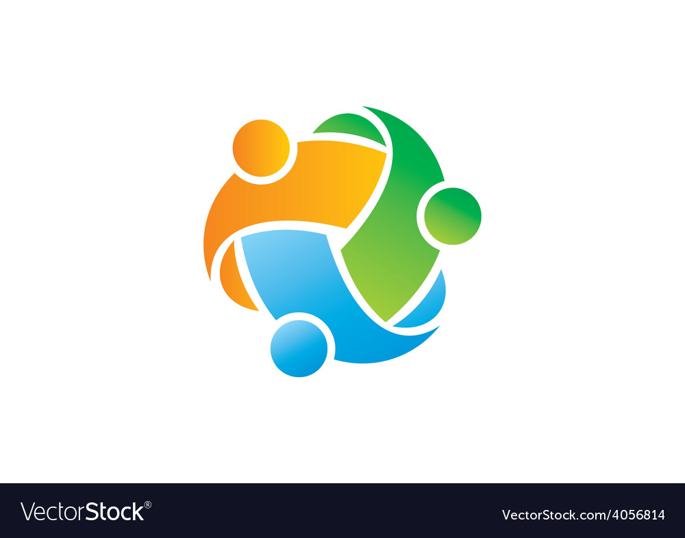 Circle three abstract people diversity logo