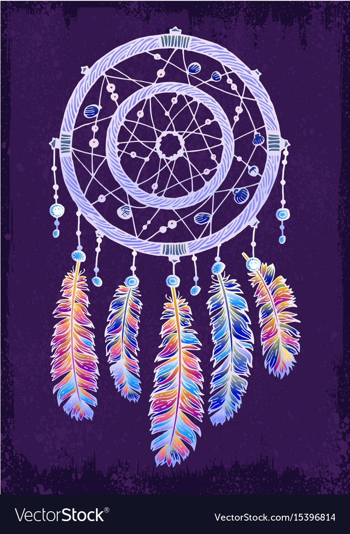 Colorfull dreamcatcher on the violet background