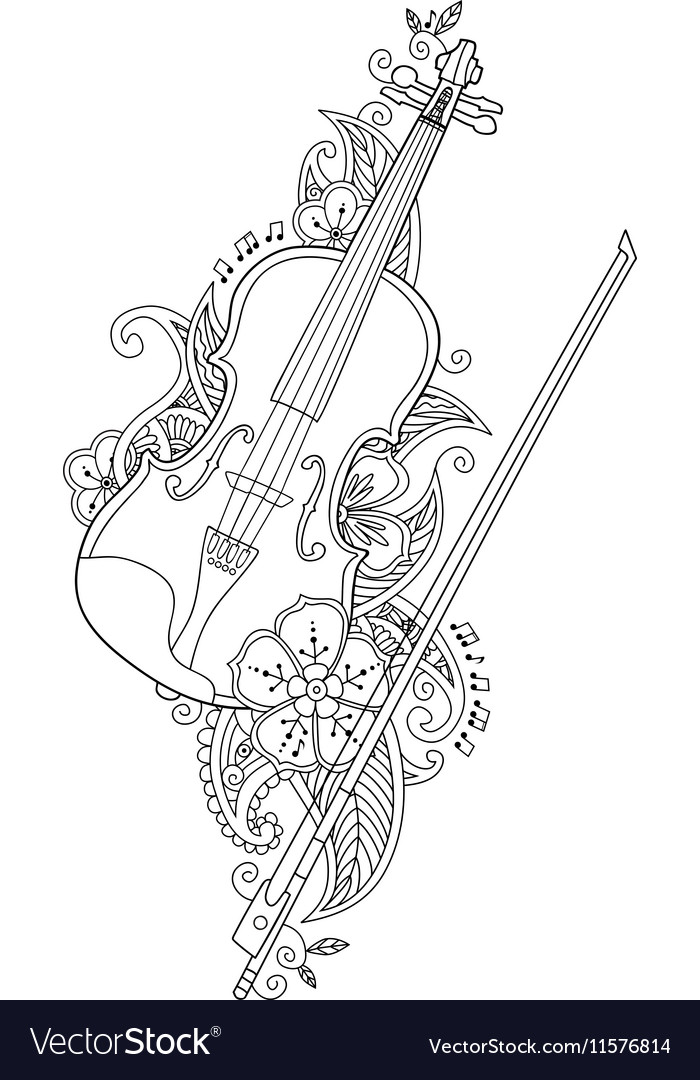Coloring Page Violin And Bow With Flowers Vector Image