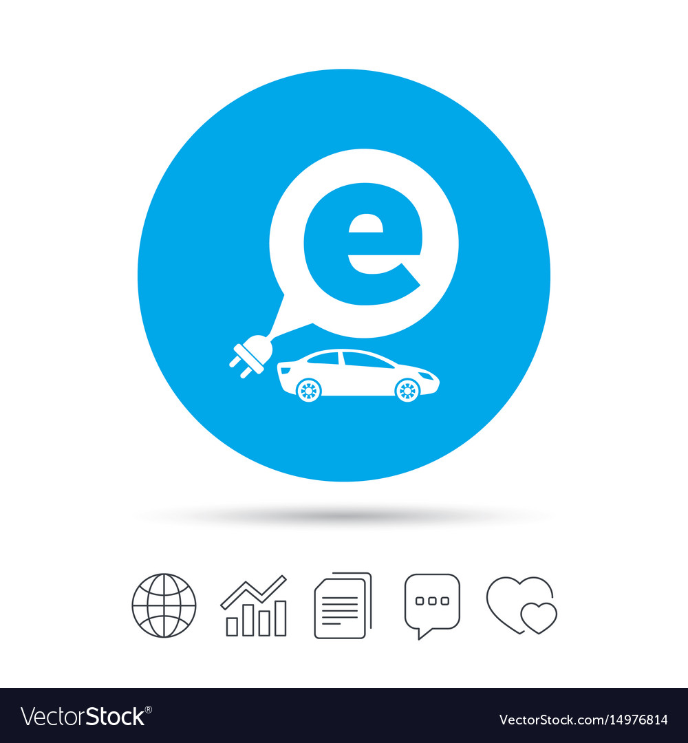 Electric car sign icon sedan saloon symbol