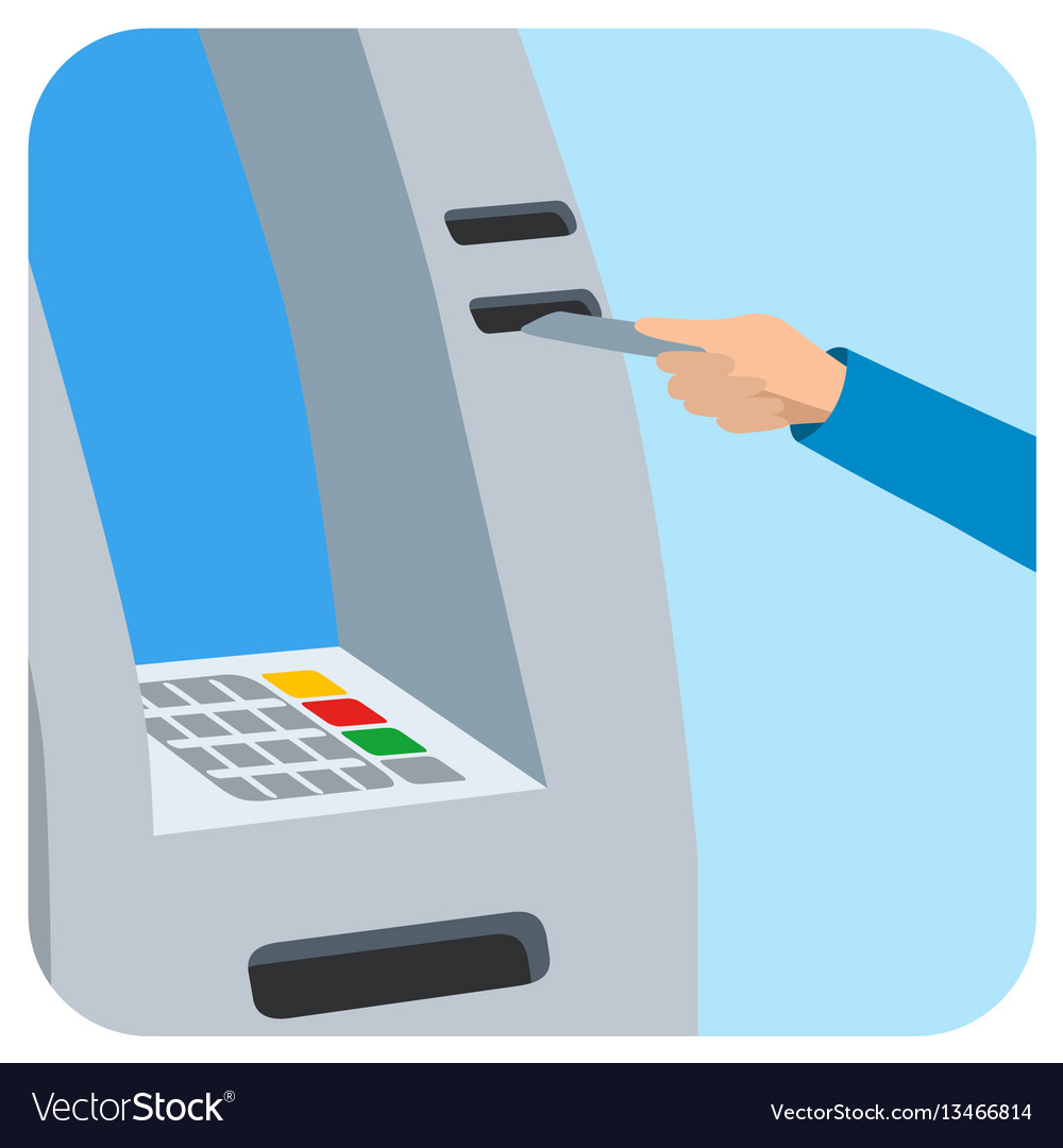 Hand inserting credit card into the atm slot