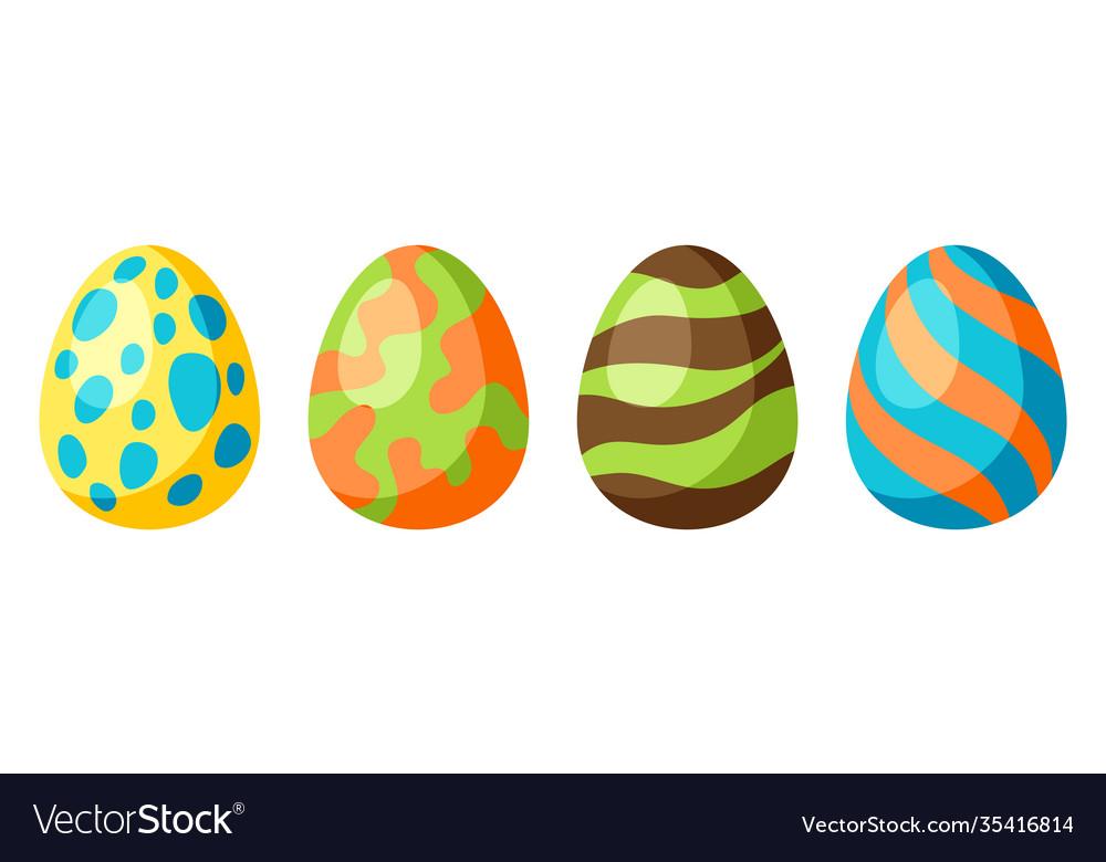 Happy easter set eggs