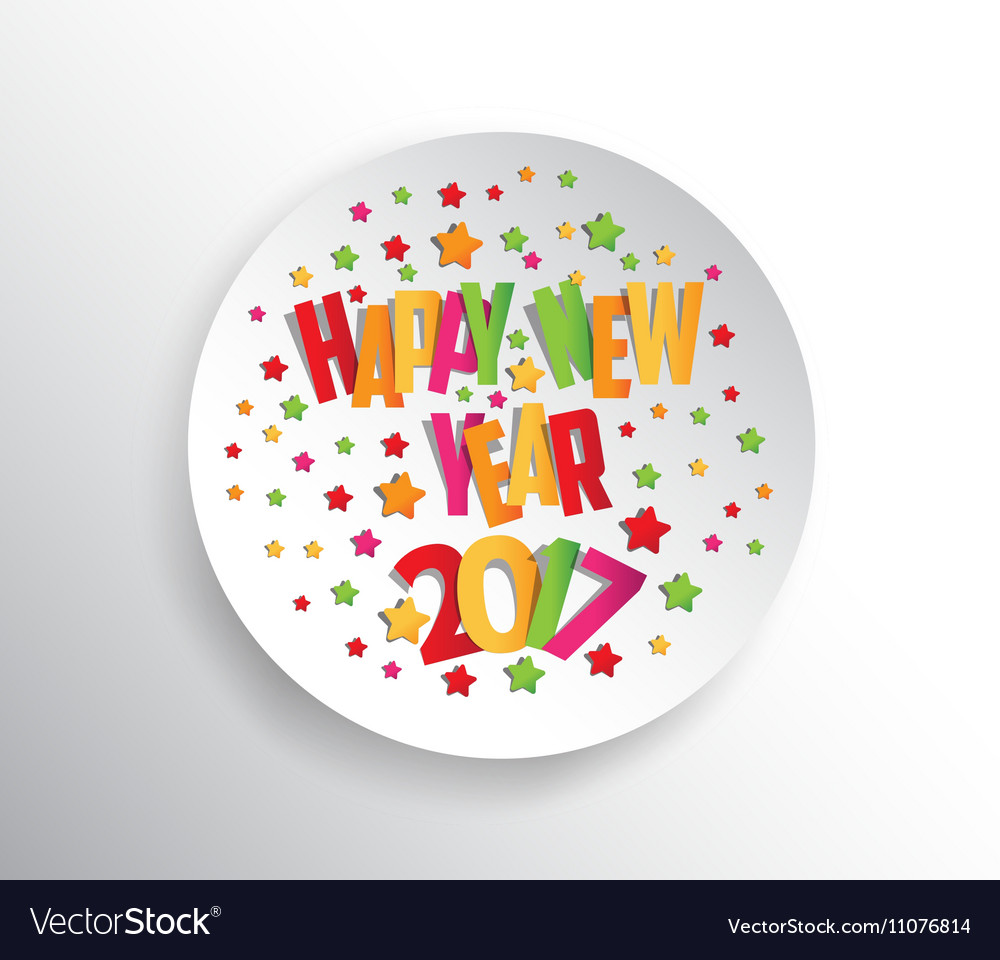 Happy new year 2017 Seasons Greetings Colorful vector image