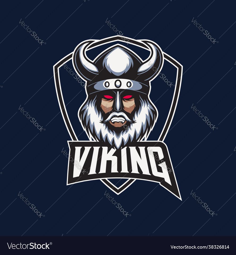 Mascot esport logo viking with shield emblem