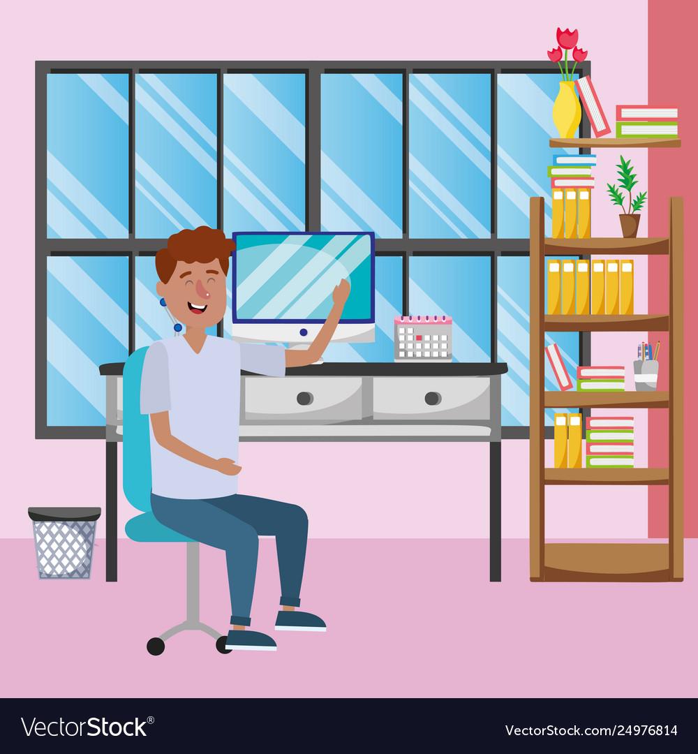 Online education man cartoon