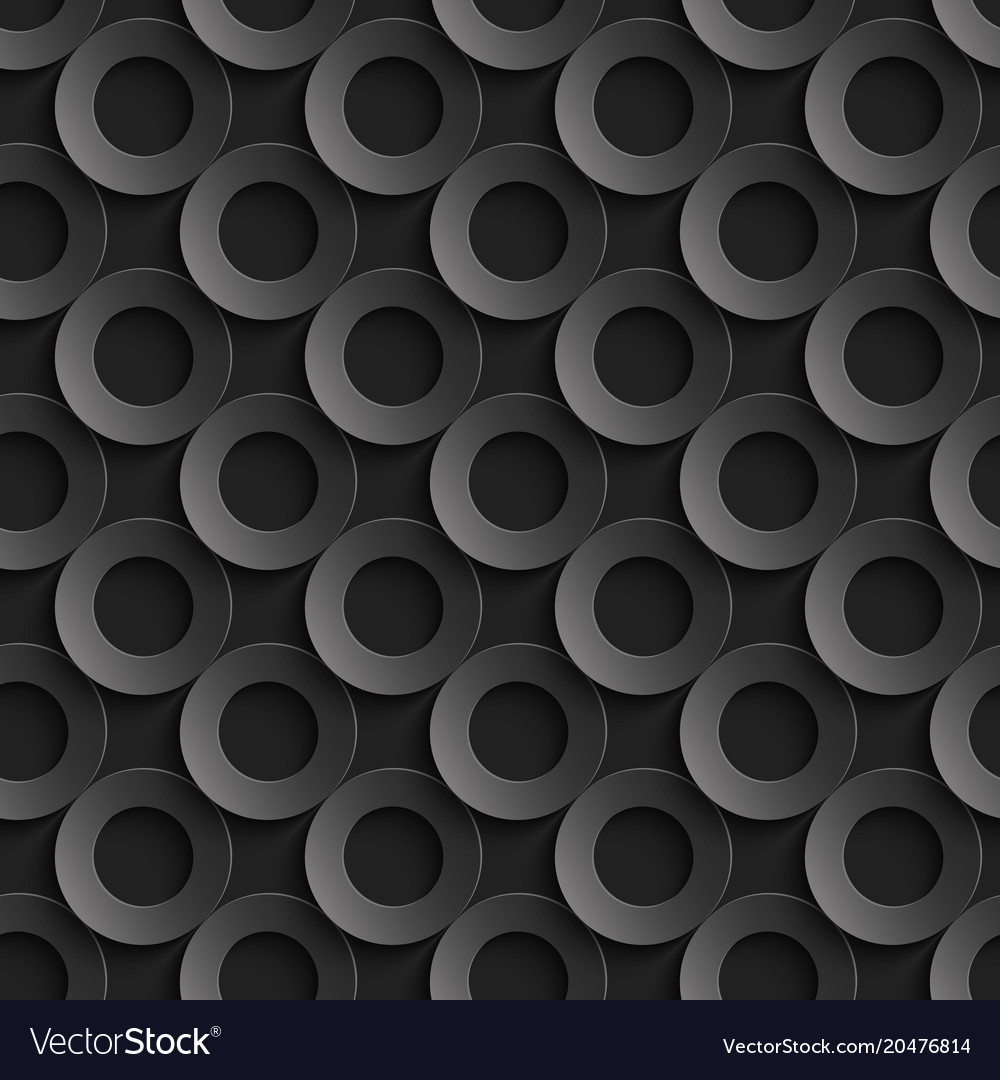 Seamless pattern with paper cut 3d black circles