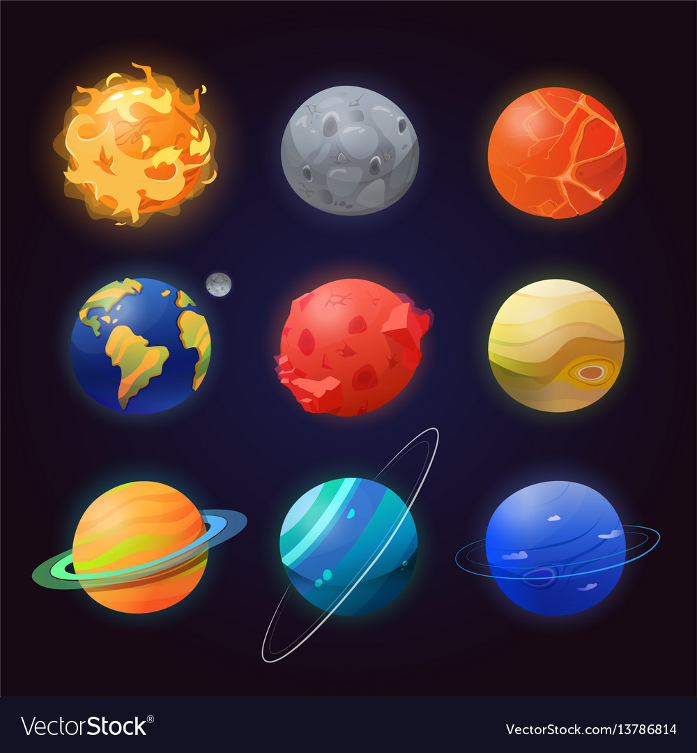 Set of isolated solar system planets and sun