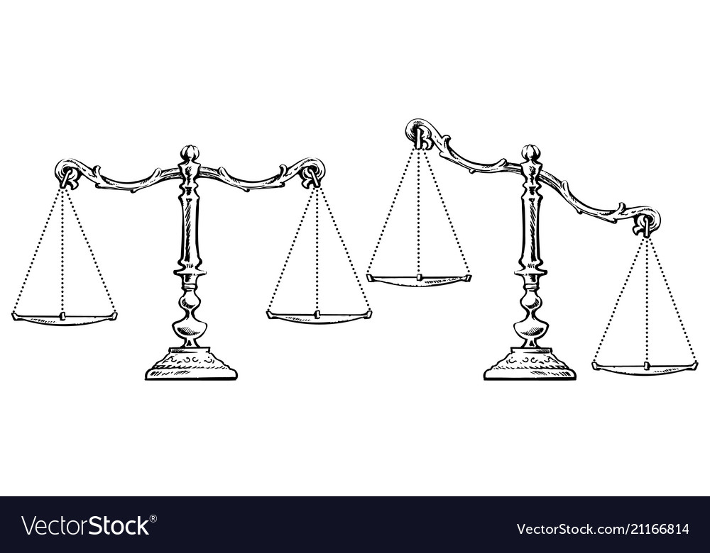 Sketch of scales balanced and unbalanced