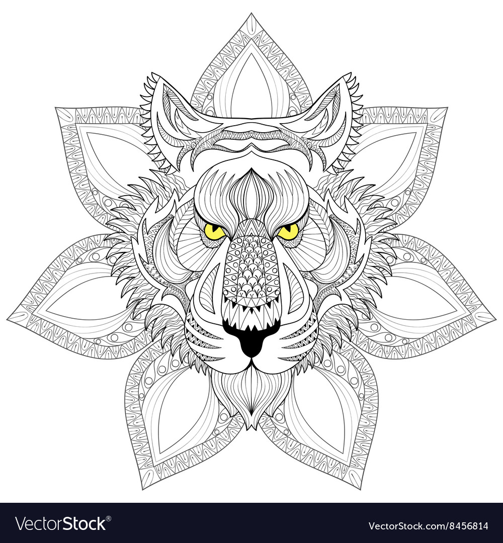 Tiger Zentangle Tiger face on mandala
