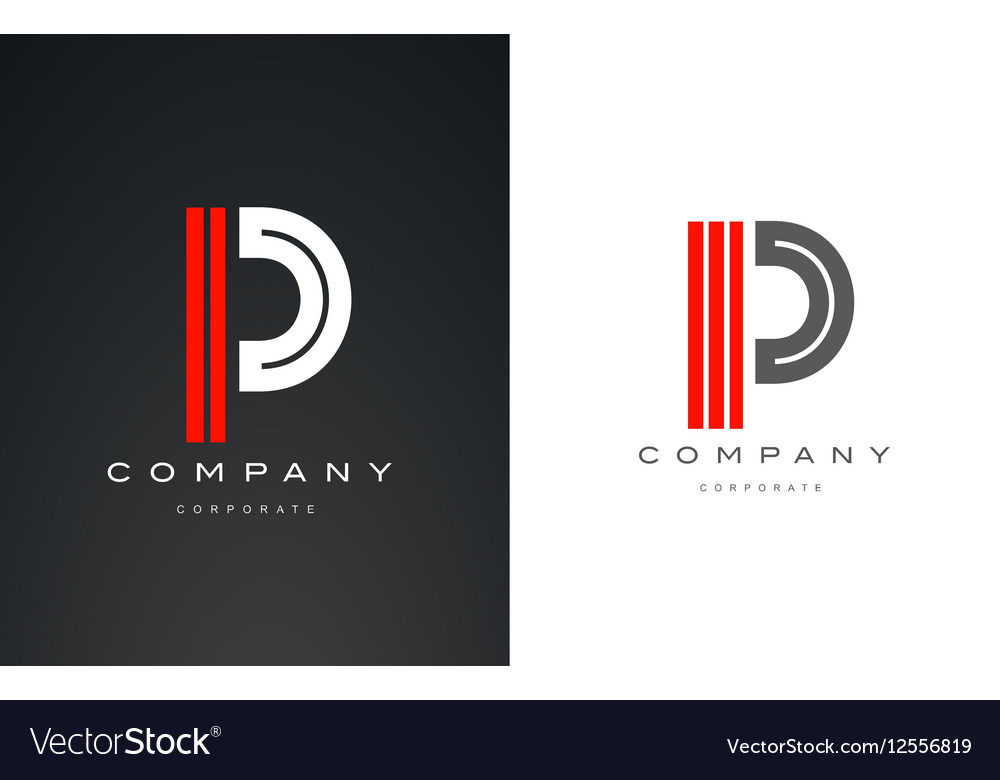 Alphabet letter P red white logo icon design vector image