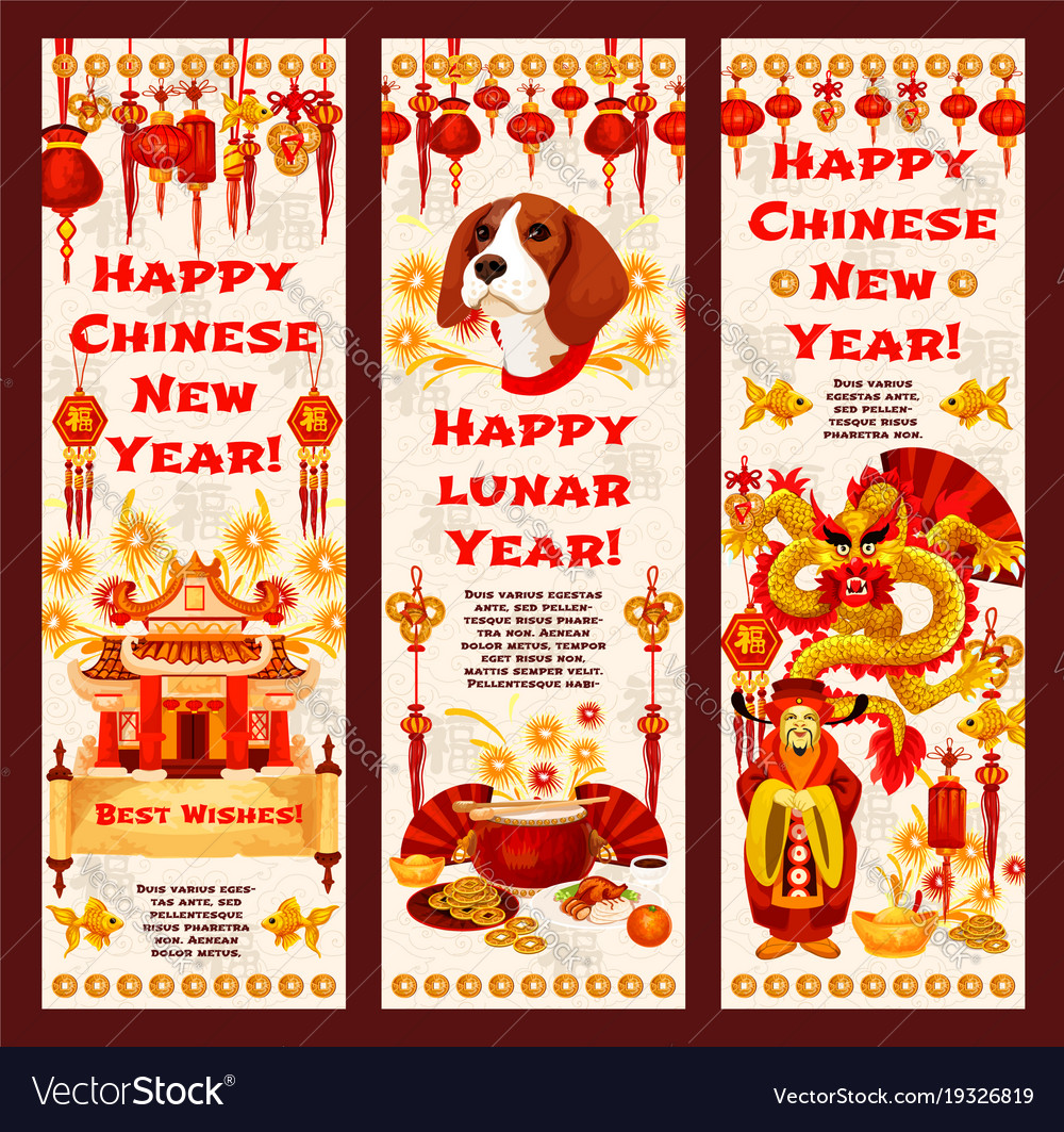 chinese new year banner of lunar calendar holiday vector image