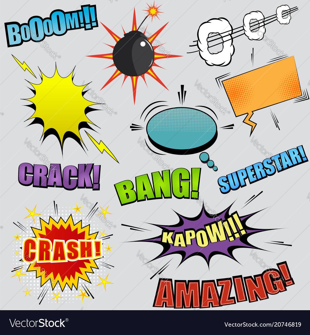 Comic colorful elements set