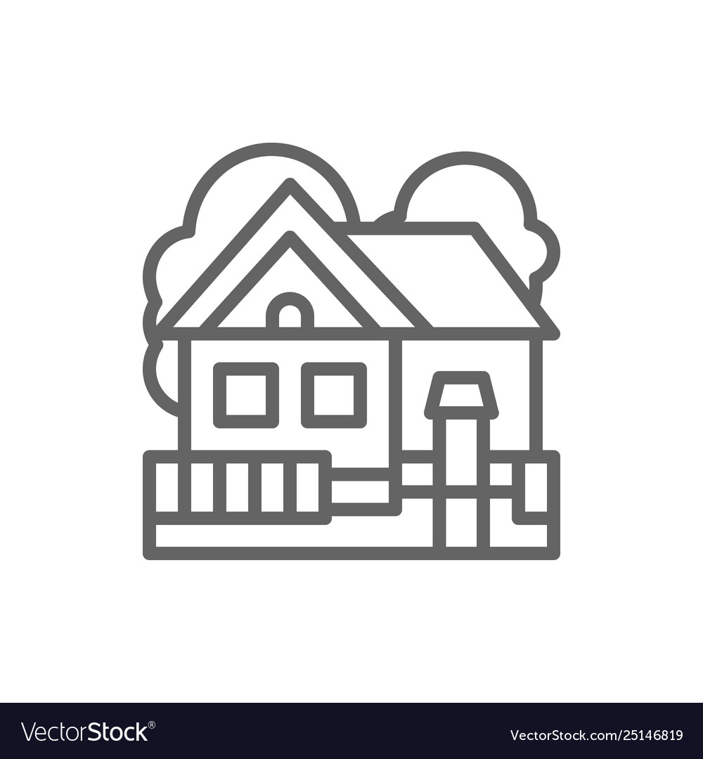 Country house cottage landscape line icon