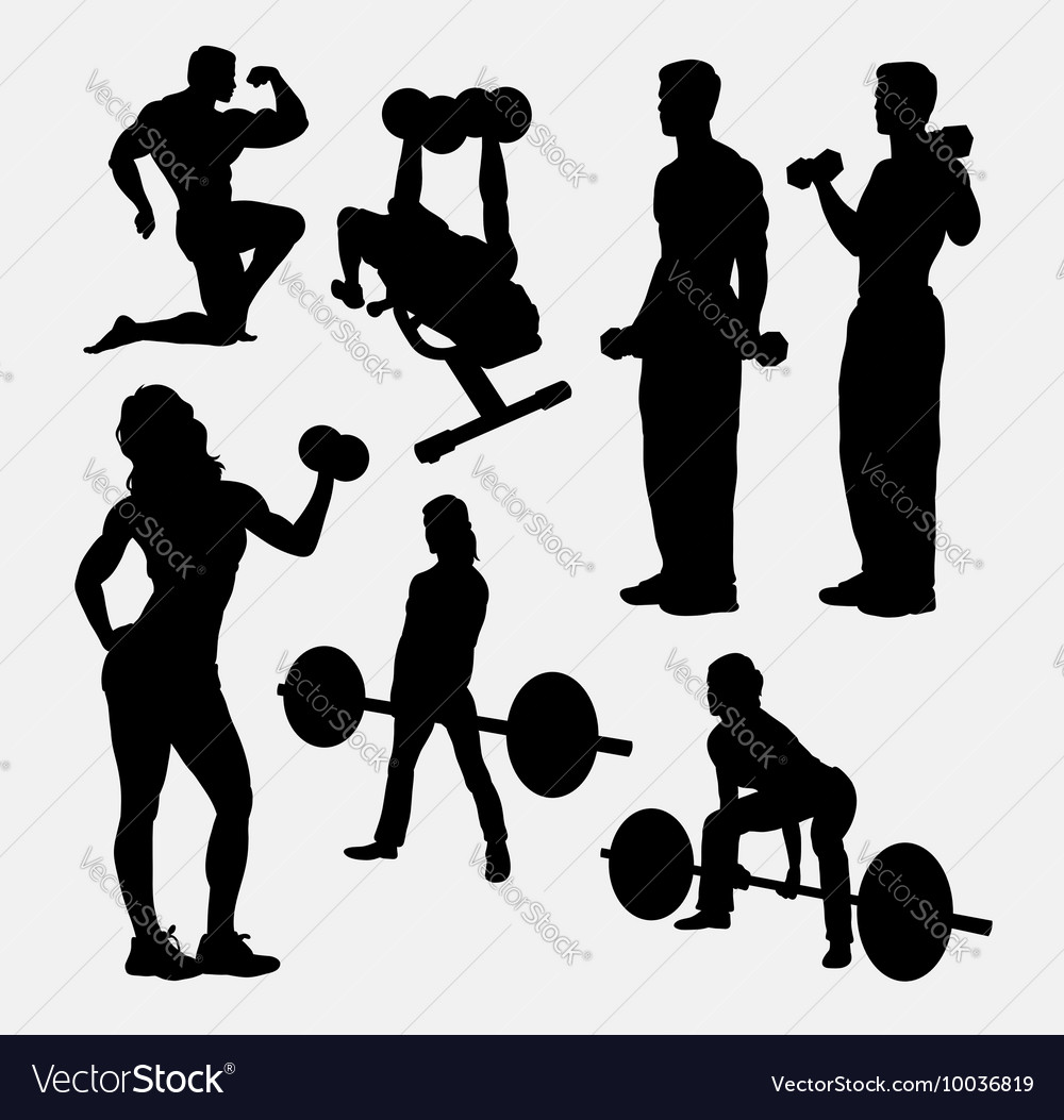 Fitness male and female activity silhouette