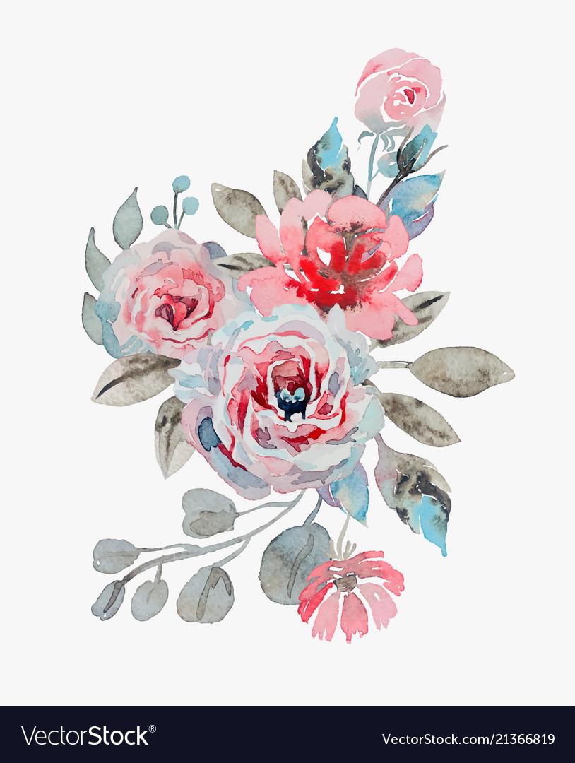 Handmade watercolor bouquet of flowers