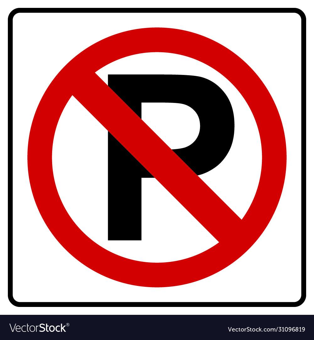 Parking symbol and no parking sign