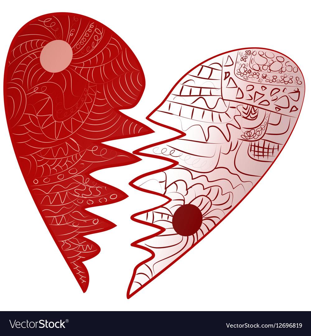 Red Valentines Day Broken Heart Drawn Zentangle Vector Image