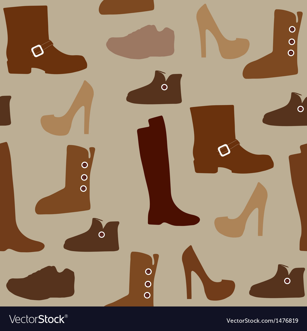 Seamless pattern with different kind of shoes