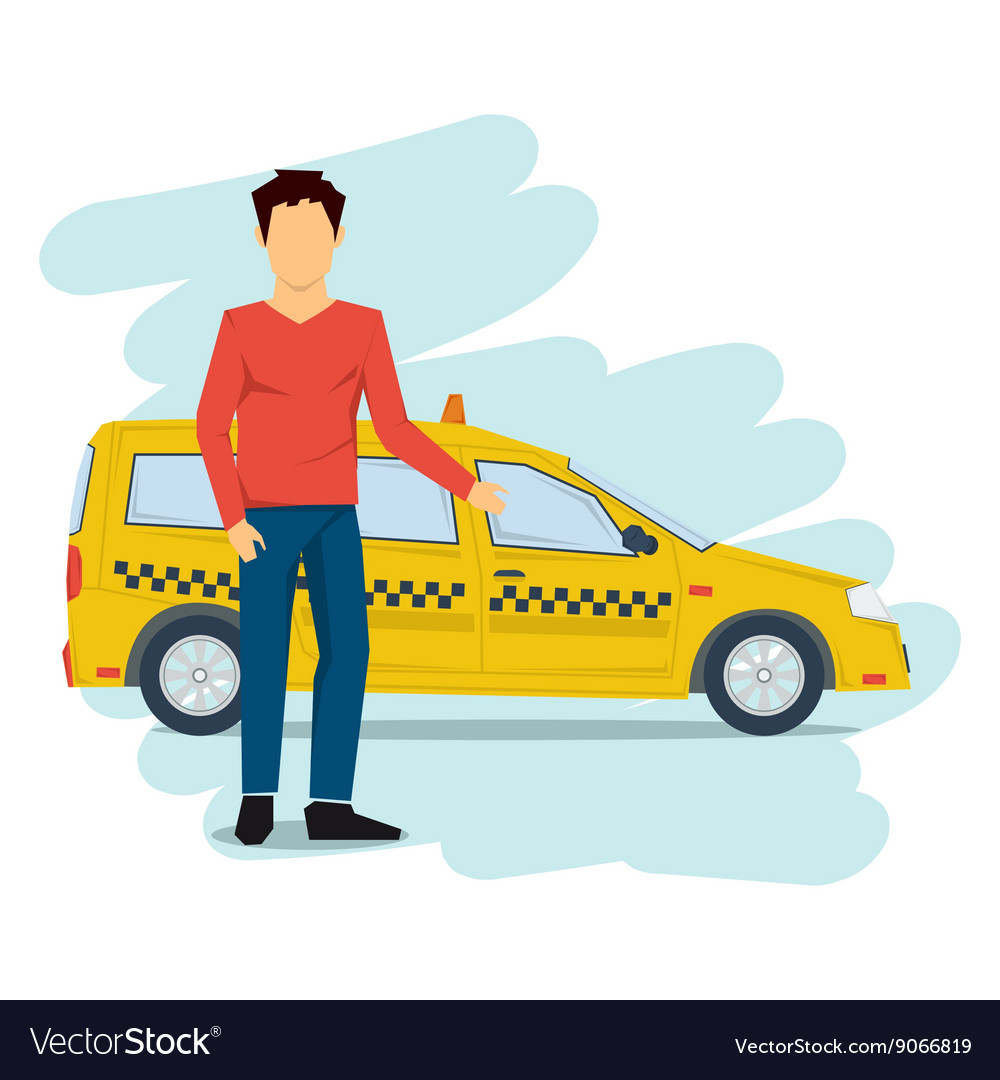 Taxi man isolated on white vector image