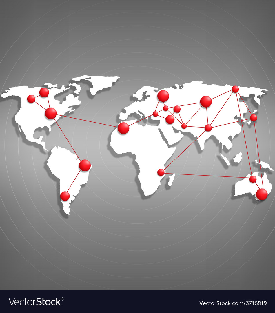 World map with red point marks on grayscale vector image gumiabroncs Images