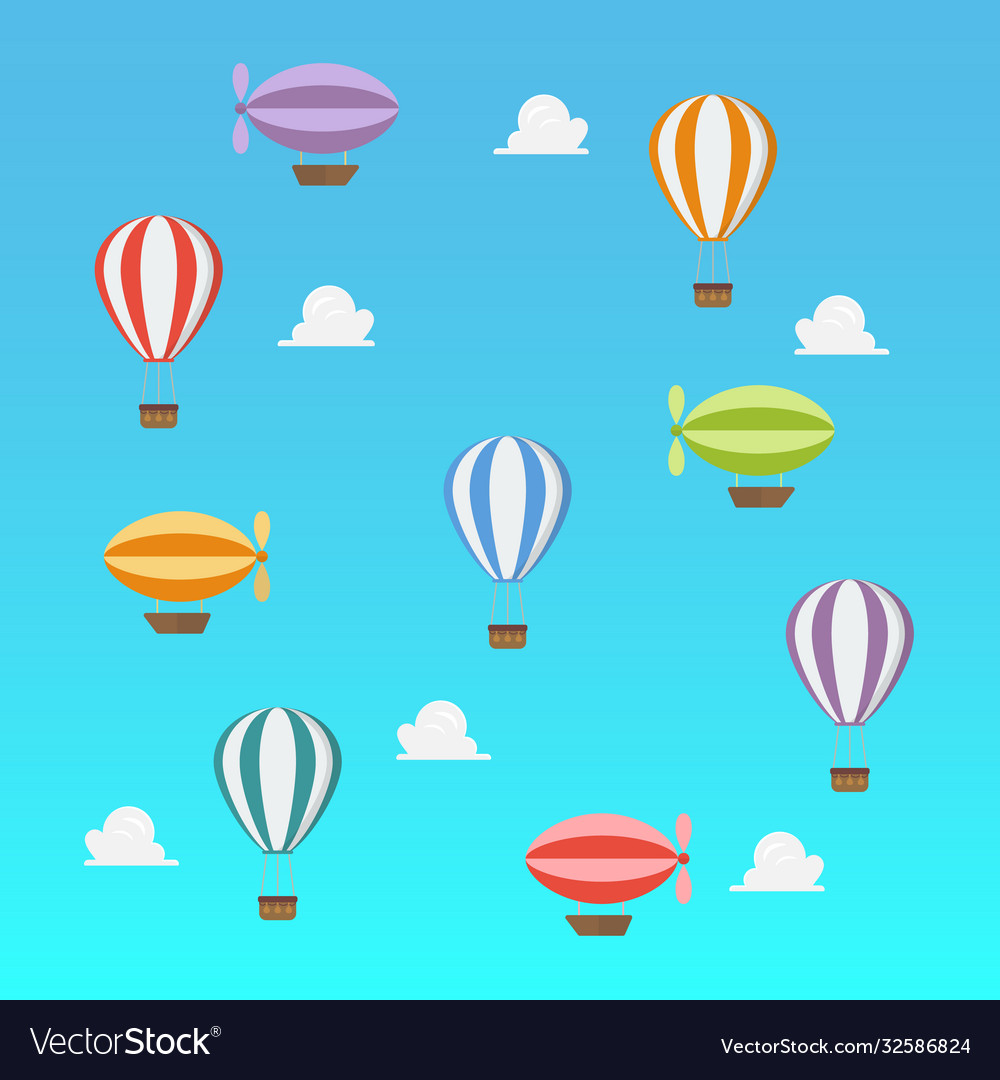 Airships and hot ait balloon flying on blue sky