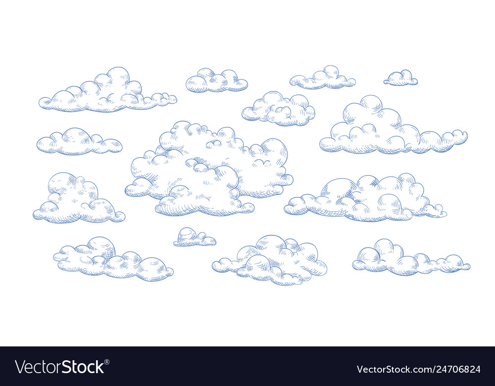 Bundle fluffy clouds drawn with contour lines
