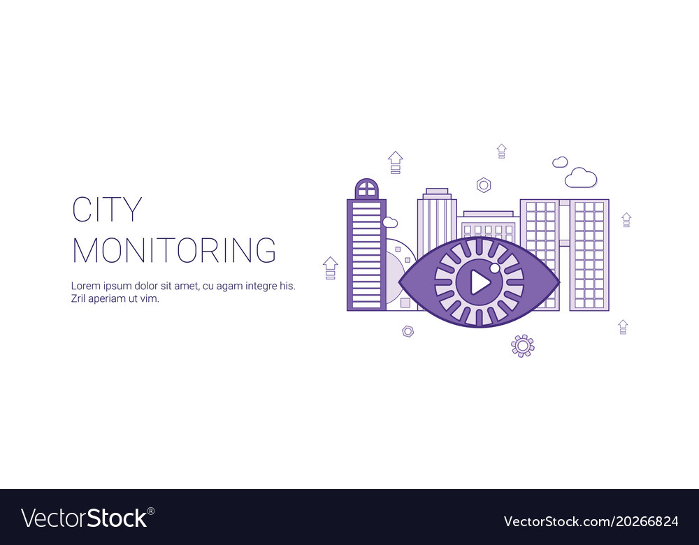 City monitoring video security template web banner