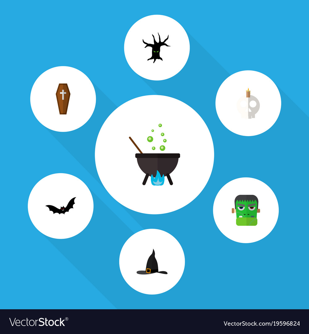 Icon flat celebrate set of skull tree monster vector image